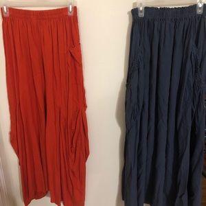 Dresses & Skirts - Two Linen Skirts Blue Gray & Orange from Beijing!